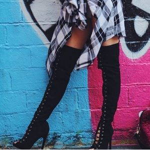 Lace Thigh High Boots